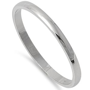 Jewelry - Sterling Silver 925 2MM Wedding Band Plain Ring